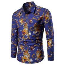 Chemise homme chemise hawaïenne motif Dragon style chinois mode chemisier à manches longues vêtements homme neuf noir bleu rouge