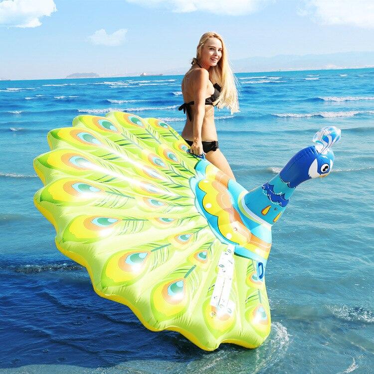 Gigante inflable Pavo Real piscina flotador anillo isla playa colchón agua cama fiesta herramientas Juguetes Divertidos para niños adultos