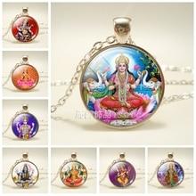 Lakshmi déesse verre dôme accessoires de mode collier bijoux hindouisme amulette breloque verre Cabochon pendentif pour lui ou elle