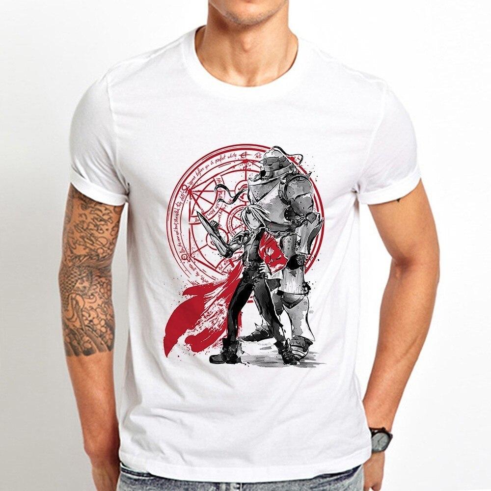 Camiseta divertida de anime japonés Fullmetal Alchemist Brothers para hombre, novedad de verano 2019, Camiseta clásica fresca informal blanca para hombre