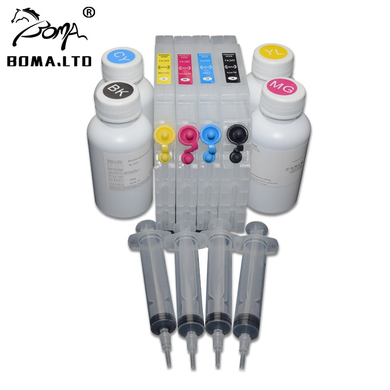 Free Cost!!! 4PC GC 41 Sublimation Ink With 4PC Refill Ink Cartridge For Ricoh GC41 Printer With Permanent ARC Chip