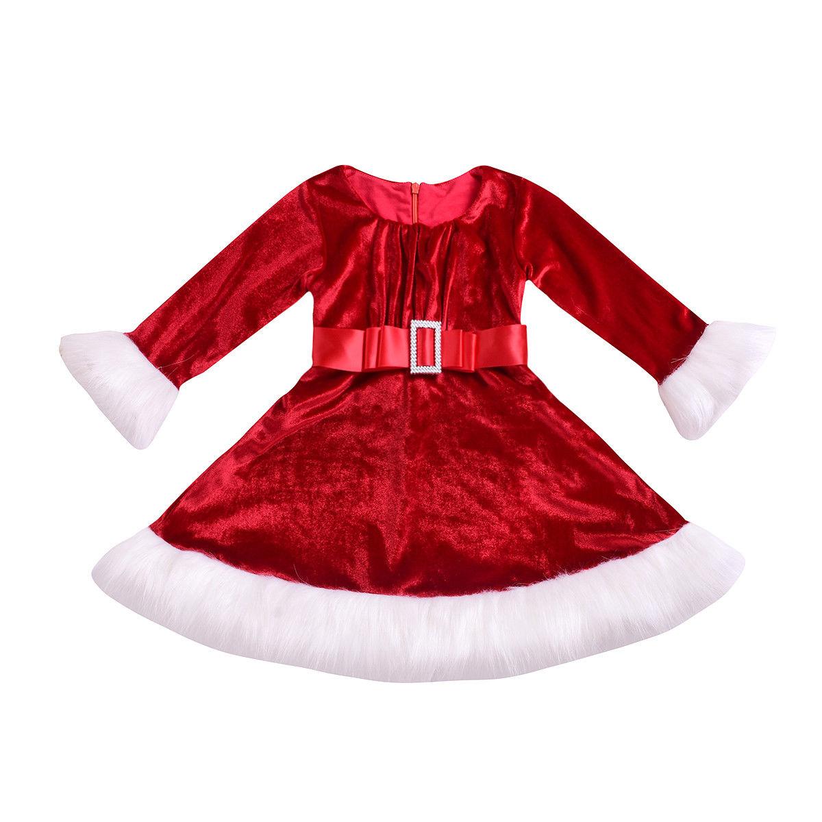 Рождественское платье для девочек, красное платье для новорожденных девочек, вельветовое, плюшевое, рождественское платье для девочек, новогодние платья для девочек