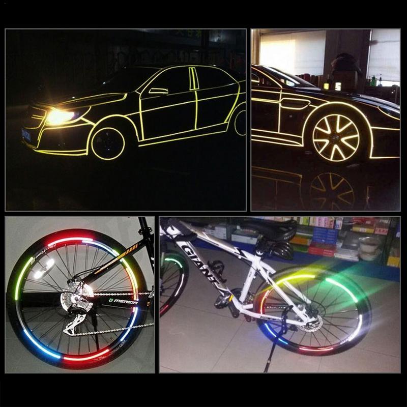 Fluorescent lisse 1*8m Fluorescent réfléchissant autocollant moto route vélo avertissement de sécurité réflecteur sécurité collé Surface