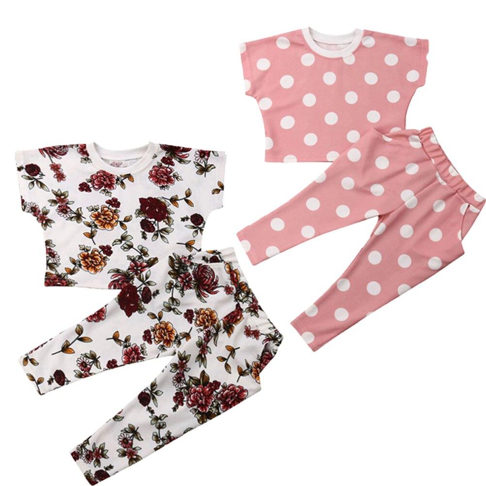 Ropa de niña Boutique 2 uds. Ropa de verano para niños pequeños y Niñas Ropa Floral/Tops de lunares + trajes con pantalones largos