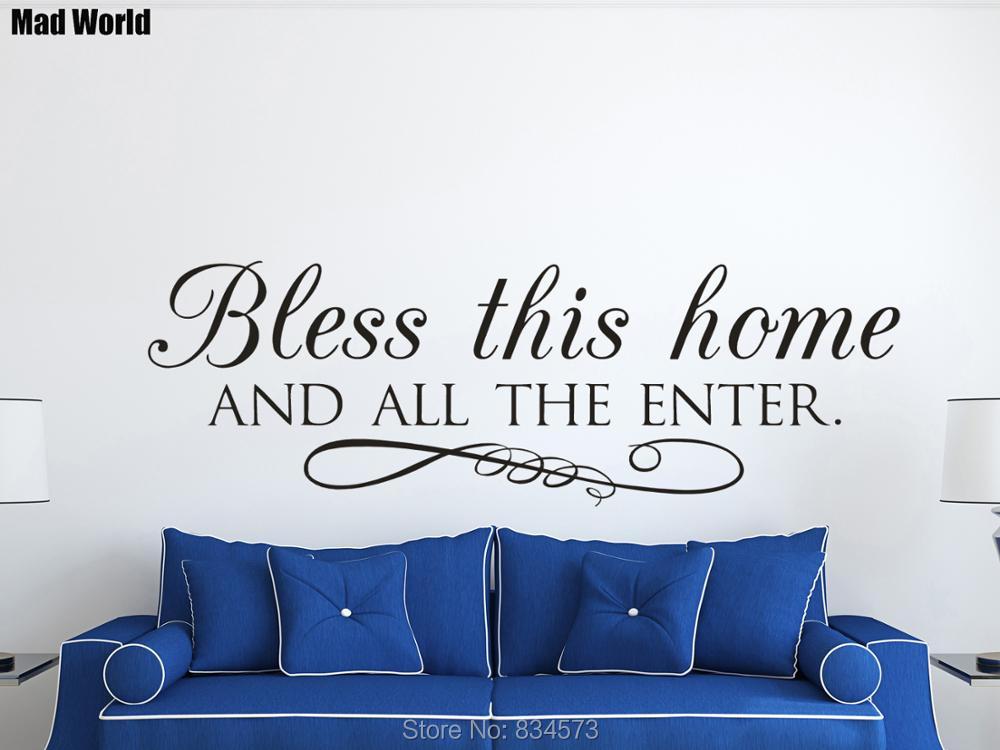 Bless This Home and All Who Enter pegatinas de arte de la pared calcomanías hogar DIY decoración extraíble habitación decoración de pared pegatinas A08