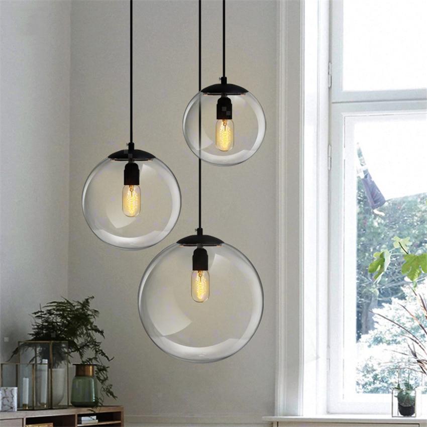 Современные стеклянные шаровые подвесные светильники, светодиодные подвесные светильники, Светильники для гостиной, ресторана, кухни, Дек...