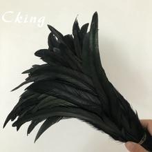 ¡Nuevo! 100 Uds. Hermoso sombrero de plumas de 10-12 pulgadas/25-30cm negro collar pendientes accesorios de boda decorativos