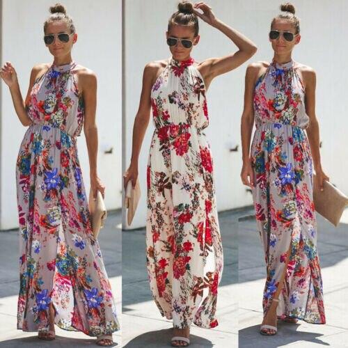 Womens boho lange maxi jurk senhora avod festa vestido de praia zonnejurk bloemen mouwloze lange jurk