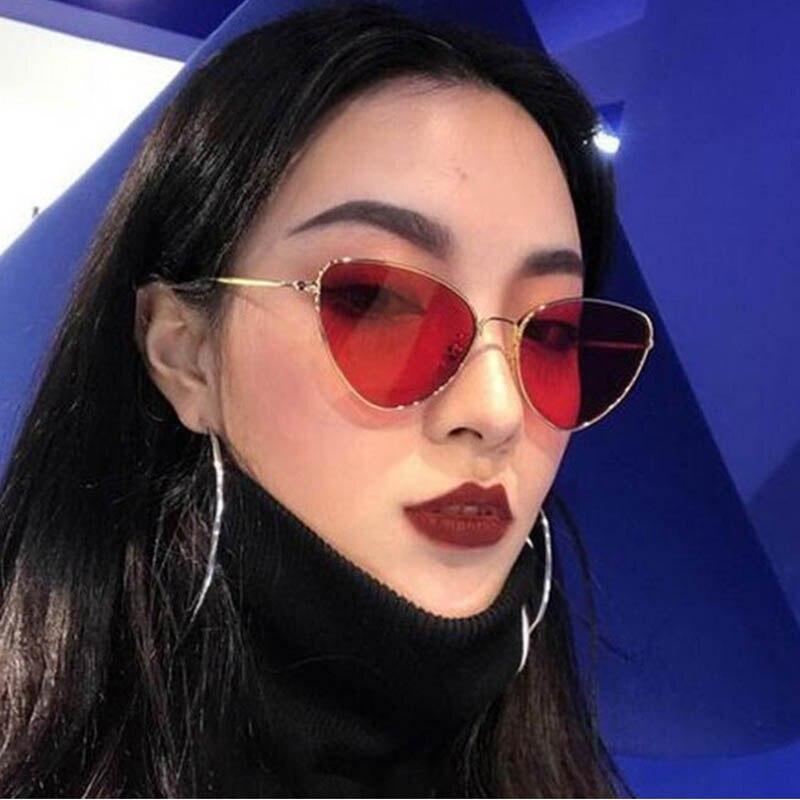 Q Sunglasses Women Vintage Cat Eye Women Sunglasses Metal Frame Drop Shaped Brand Designer UV400