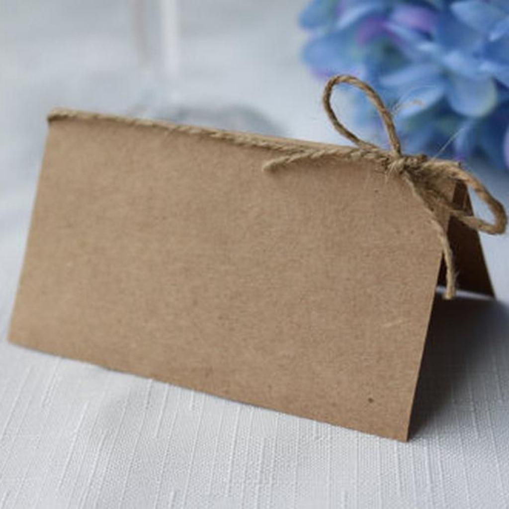Tarjetas de mesa de boda Vintage de papel Kraft MagiDeal 50, papel Kraft en blanco, tarjetas de nombre de lugar, invitaciones de Ceremonia de 10,2x8,9 cm