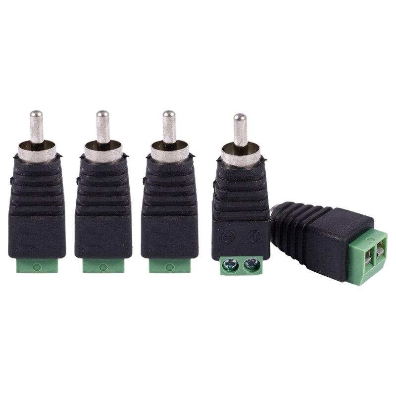 5 uds UTP Cat5 Cat6 Cable a CCTV AV Phono RCA adaptador de enchufe macho