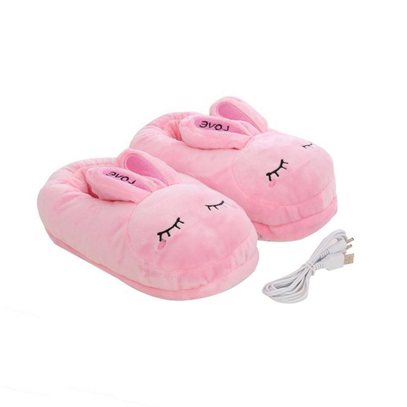 Pantoufles chauffantes en coton lavable 1 paire   Pantoufles chauffantes et chauffantes, en peluche, avec dessin animé, chargeur usb amovible, chauffe-pieds électrique