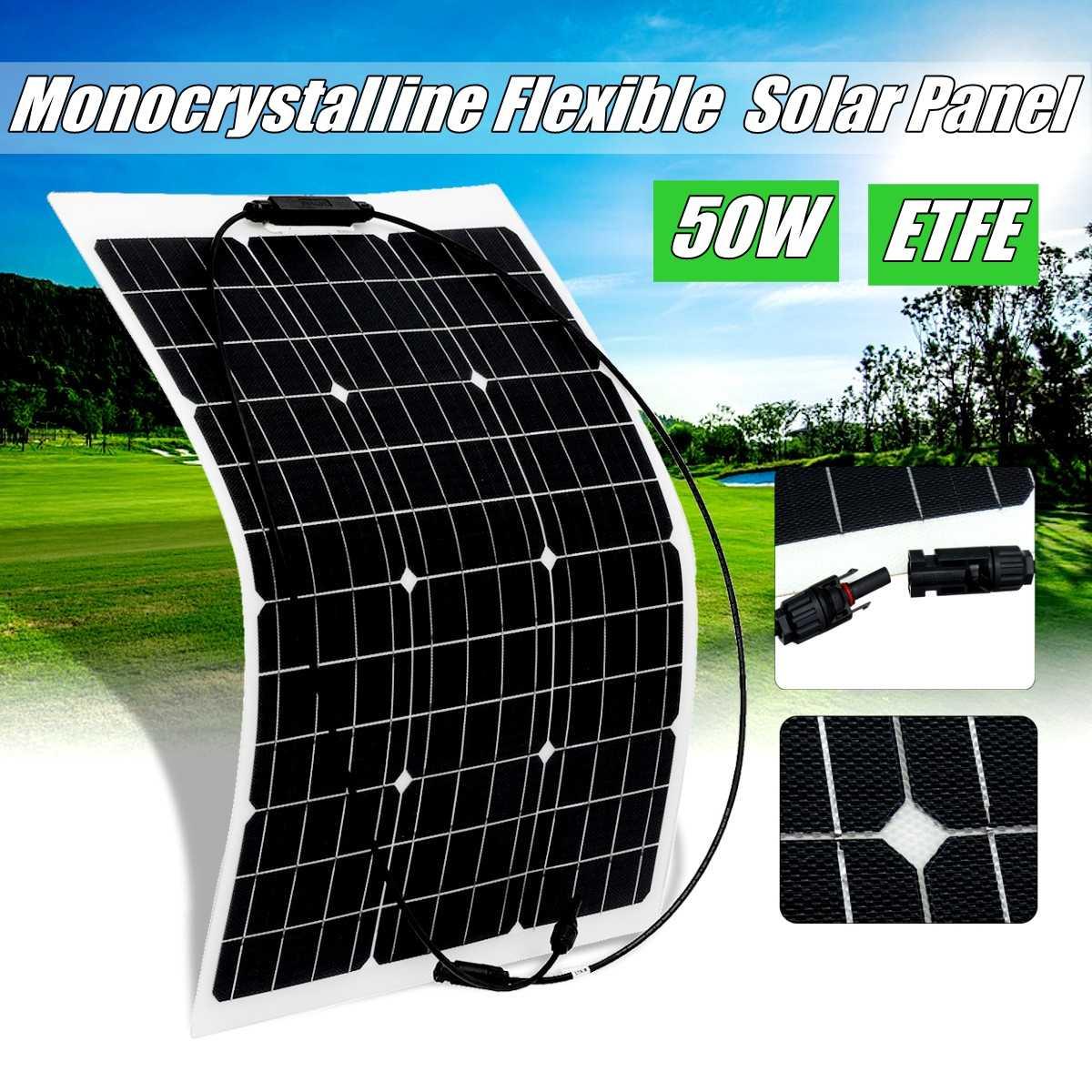 Painel solar semi-flexível 18 v 50 w carregador solar para células monocristalinas etfe da bateria de carro 12 v para hause, barco, cabo do telhado