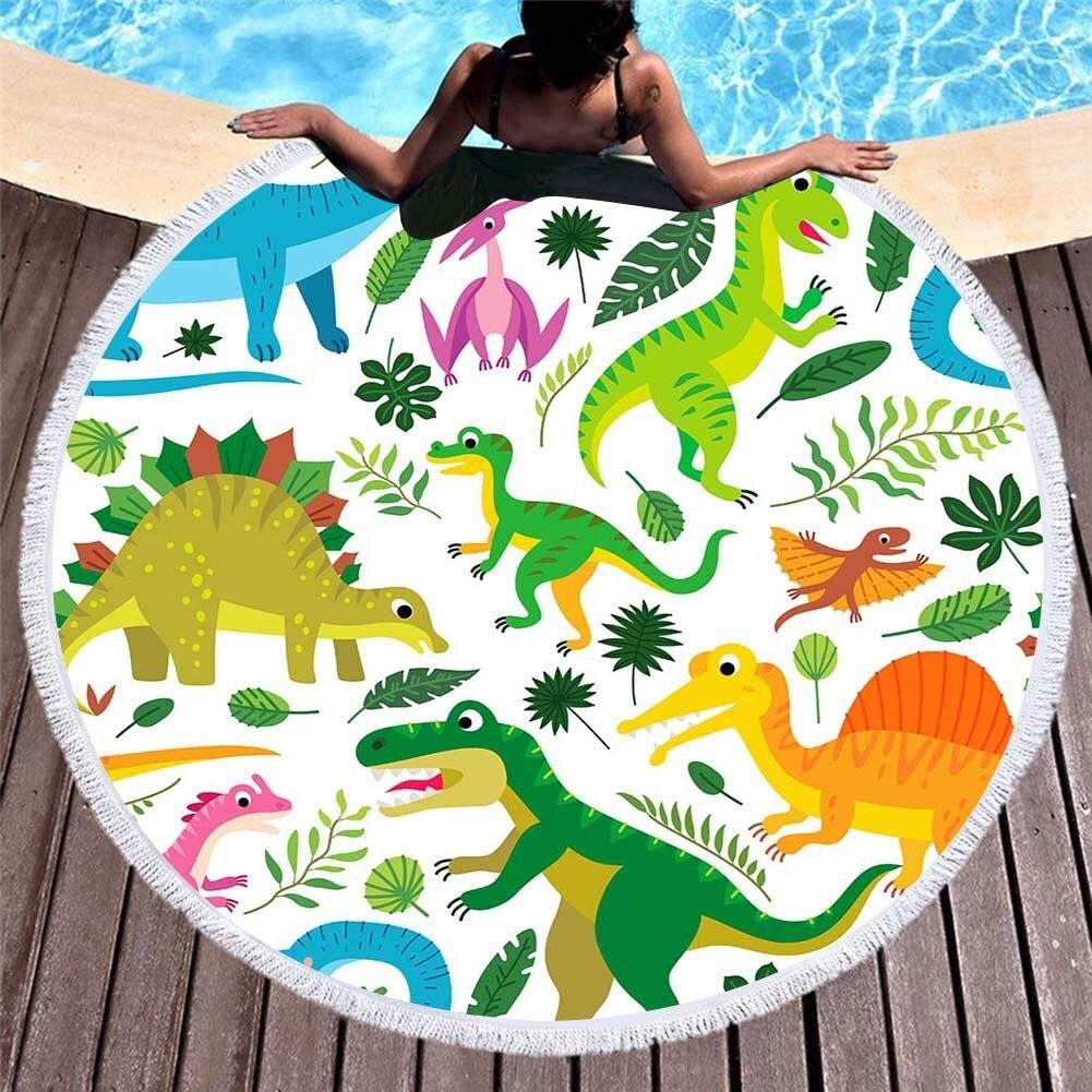Toalla de playa redonda de dibujos animados dinosaurio impreso para niños Toalla de baño redonda de microfibra con borlas Toalla de playa redonda de verano grande