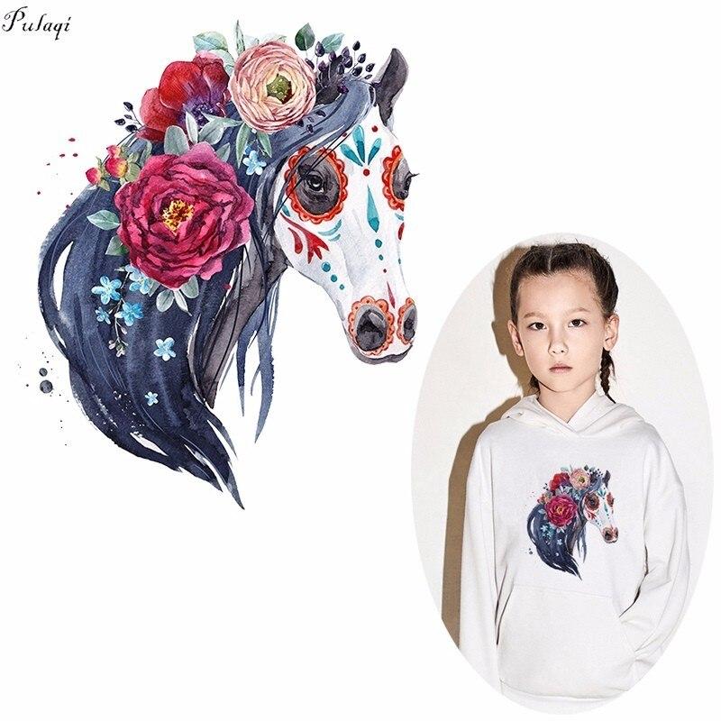 Pulaqi, parches de maquillaje de caballo payaso, hierro en las transferencias, moda Pony, Transferencia Térmica de calor para la ropa, decoración DIY F