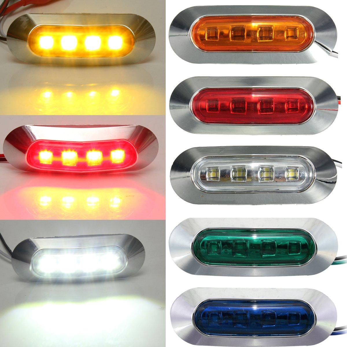 Luz de posición Universal 4led, luz indicadora lateral de distancia de posición de coche, camión, autobús, remolque, indicador lateral de luz roja, blanca, ámbar, azul y verde