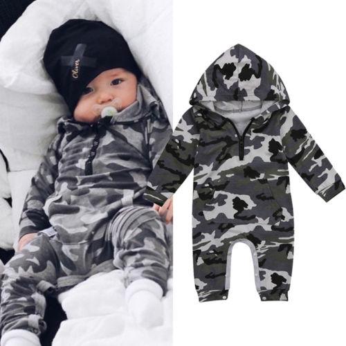 Infant Baby Jungen Mit Kapuze Camouflage Romper Neugeborenen Baby Camo Langarm Strampler Warme Frühling Herbst Overall Outfit Jungen 0- 24M
