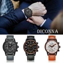 Men Military Leather Analog Army Stainless Steel Sports Date Quartz Wrist Watch