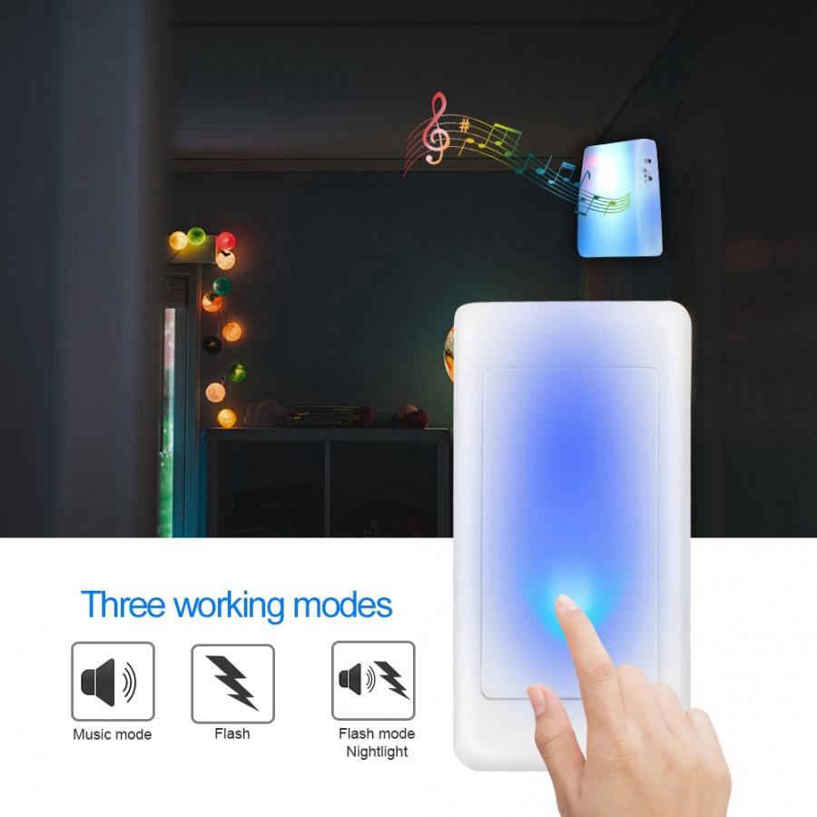 Дверной звонок с 7 цветным освещением беспроводной музыкальный для пожилых людей