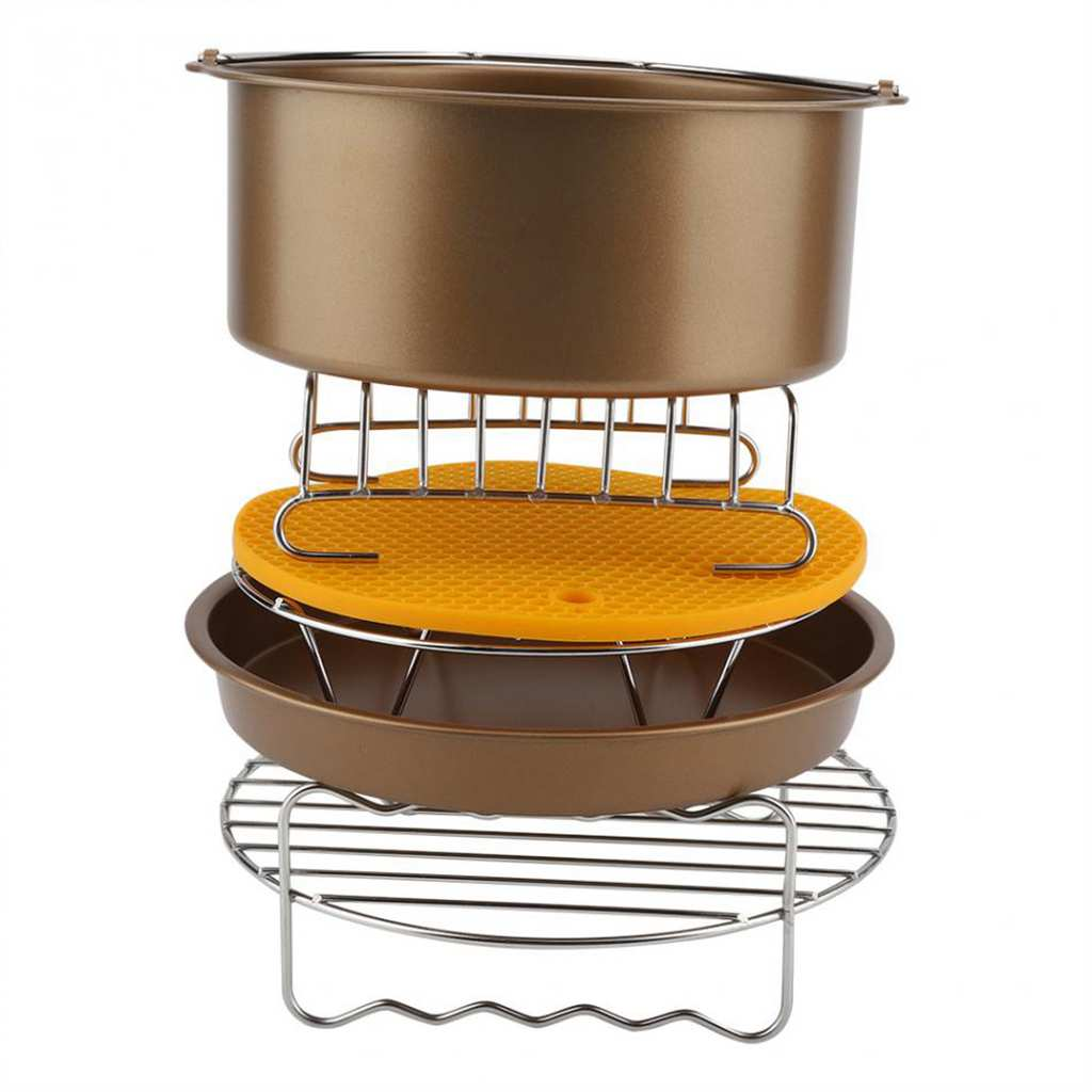 LUDA accesorios para freidora de aire de 8 pulgadas para 9 piezas de freidora de aire barril de pastel Pizza Pan de silicona Mat estante para Pan Clip de alimentos estante de Metal H
