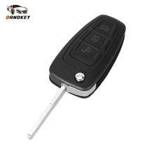 Housse de clé de voiture pliable à distance clé de voiture 3 boutons pour Ford Focus Mondeo Fiesta 2013 Fob boîtier automatique avec lame HU101