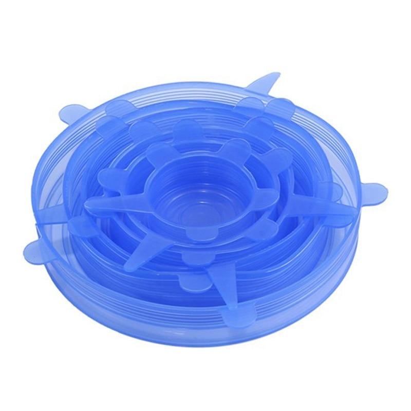 Tapas elásticas de silicona paquete de 6 cubiertas de alimentos estirables de diferentes tamaños para tazas, ollas, tazones, platos, jarras