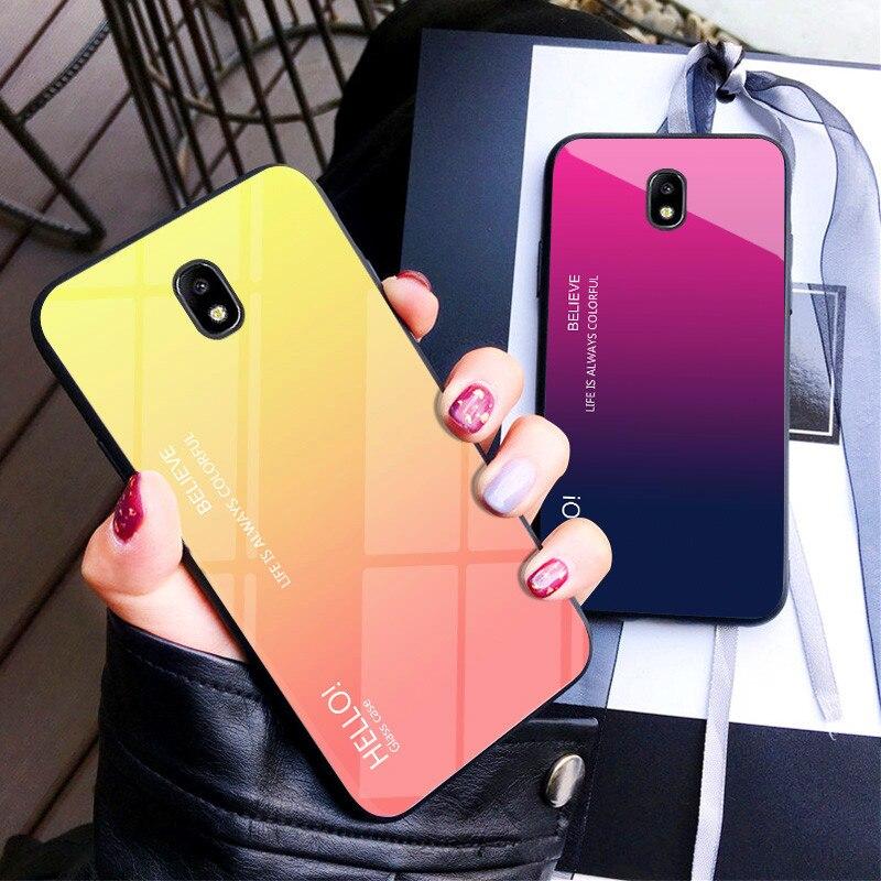 Para Samsung J3 Pro 2017 carcasa degradada Aurora carcasa trasera de vidrio templado para Galaxy J5Pro J3Pro J7Pro color Coque Capa