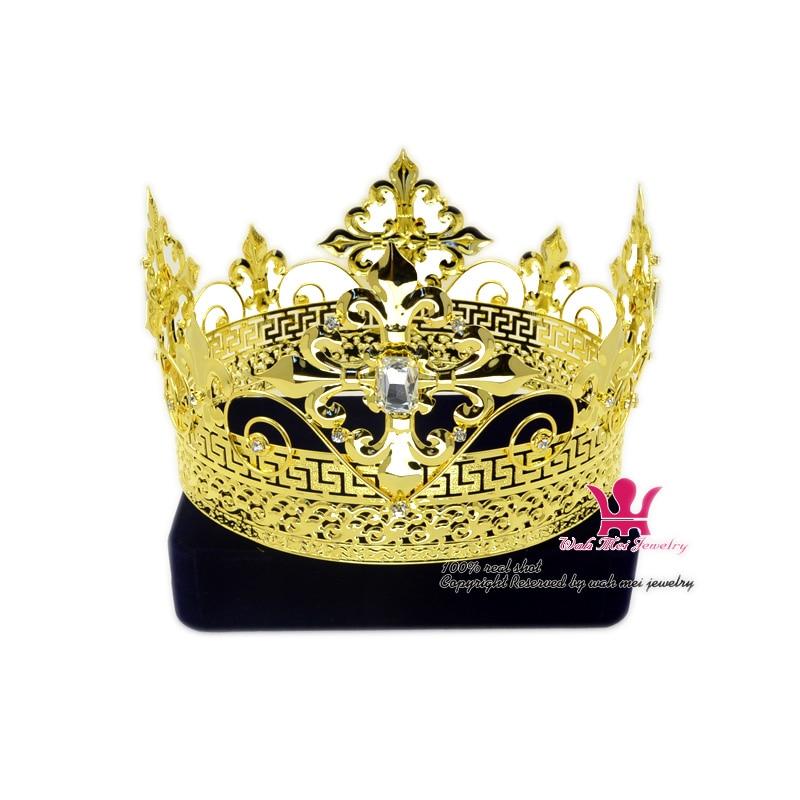 الرجال تيارا الملك تاج الإمبراطوري التيجان القرون الوسطى تأثيري نموذج تظهر الشعر مجوهرات الذهب معدن الأمير Hairwear خمر التيجان Mo200
