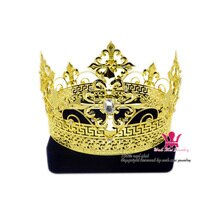 Mannen Tiara Koning Keizerskroon Middeleeuwse Kronen cosplay Model Tonen Haar Sieraden Gold Metal Prins Hairwear Vintage kronen Mo200