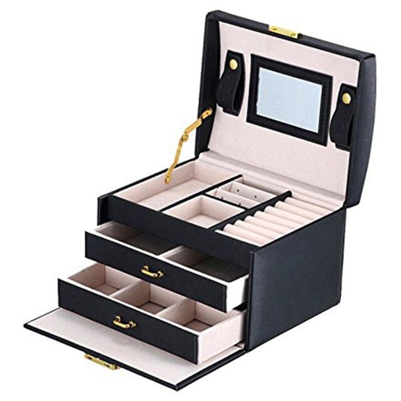 Caja de embalaje de joyería de cuero PU de Color negro con 2 cajones de almacenamiento de tres capas organizador de joyas estuche de transporte cosméticos para mujeres
