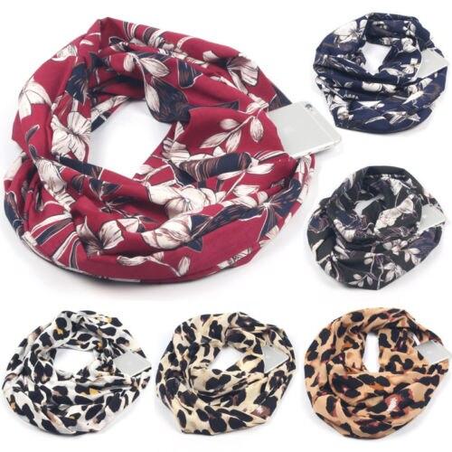 ¡Novedad de 2019! Bufanda Convertible Infinity de moda con bolsillo para mujer, bufandas de viaje de bolsillo con cremallera para invierno