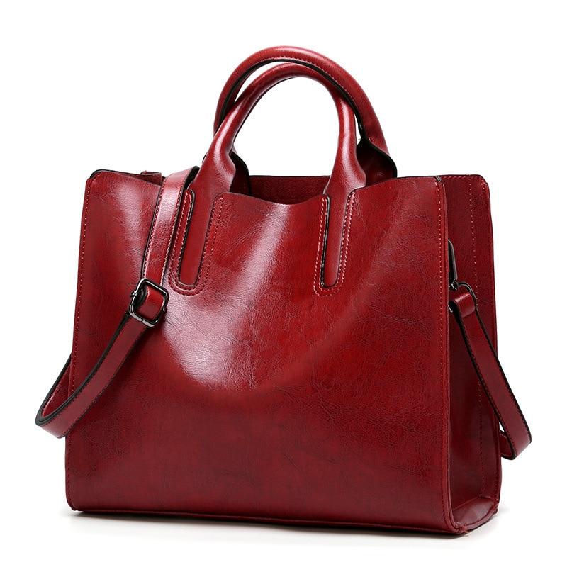 Vintage Genuine Leather Bags Women Messenger Bags High Quality Oil Wax Female Leather Handbags Ladies Shoulder Bag 2019 New C836