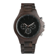 Black Color Wooden Watch Men Small Dial Chronograph Luxury Men's Watches Wood Band Bacelet Clasp Mal