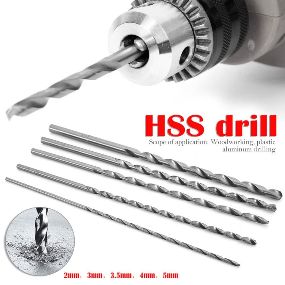 5 unids/set extralargo 150mm Hss taladro de torsión 2mm 3mm 3,5mm 4mm 5mm vástago sinfín de Straigth herramientas de perforación de Metal de madera broca nuevo B4