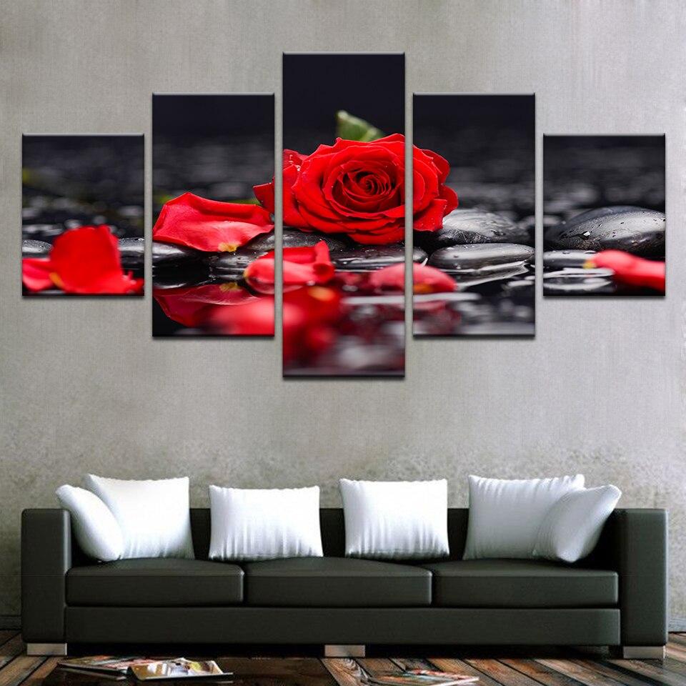 Cuadro de lienzo decoración del hogar sala de estar pared arte 5 piezas rojo Rosa Flores imágenes modulares impresiones piedra pétalo cartel marco