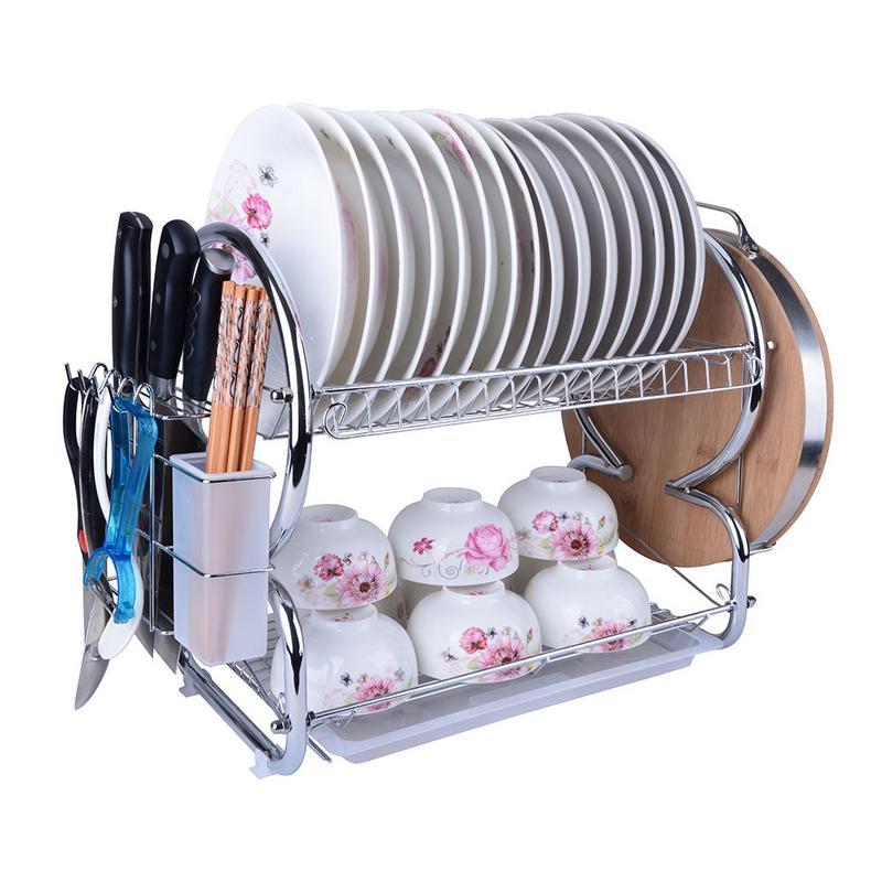 1 PC Dish Rack de 2-nivel de cromo, placa de acero inoxidable plato cubiertos taza Rack con la bandeja de acero de estante de la cocina estante