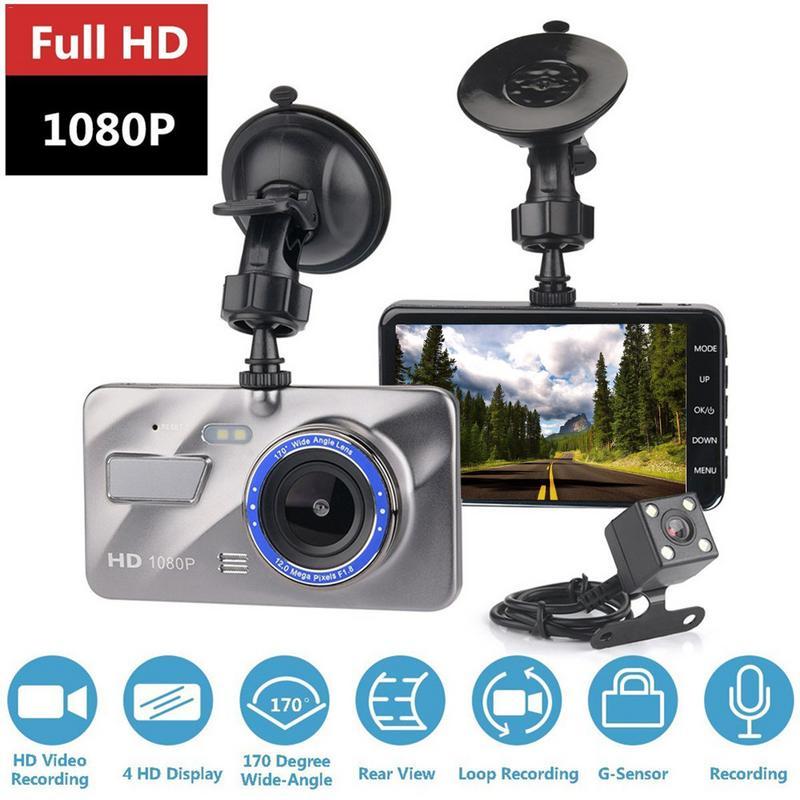 """Cámara de salpicadero de doble lente videocámara de conducción Real FULL HD 1080P 4 """"coche vehículo 170 grados registrador g-sensor cámara de salpicadero"""