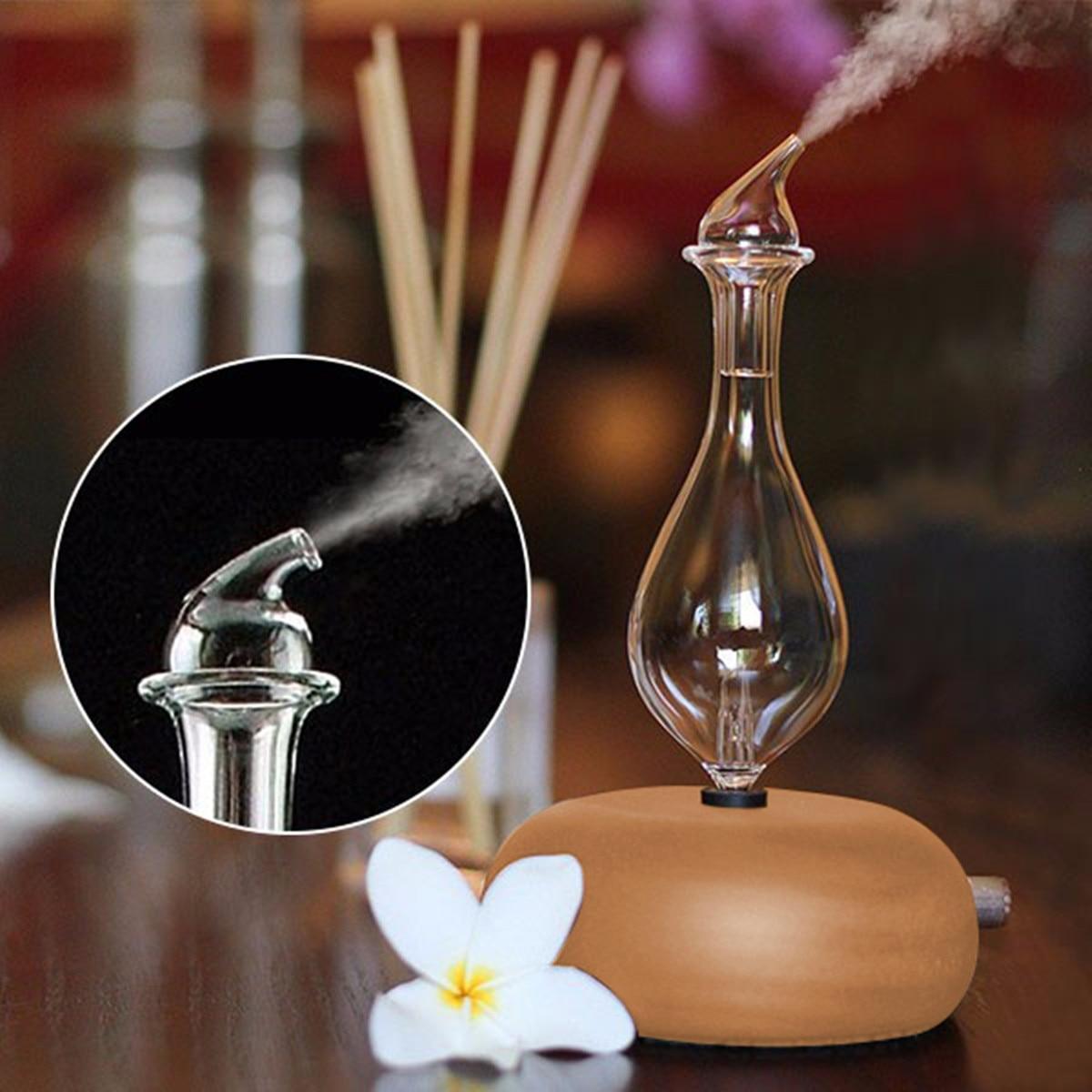 Vidro de madeira aromaterapia puro óleos essenciais difusor nebulizador ar umidificador doméstico ar condicionado aparelho