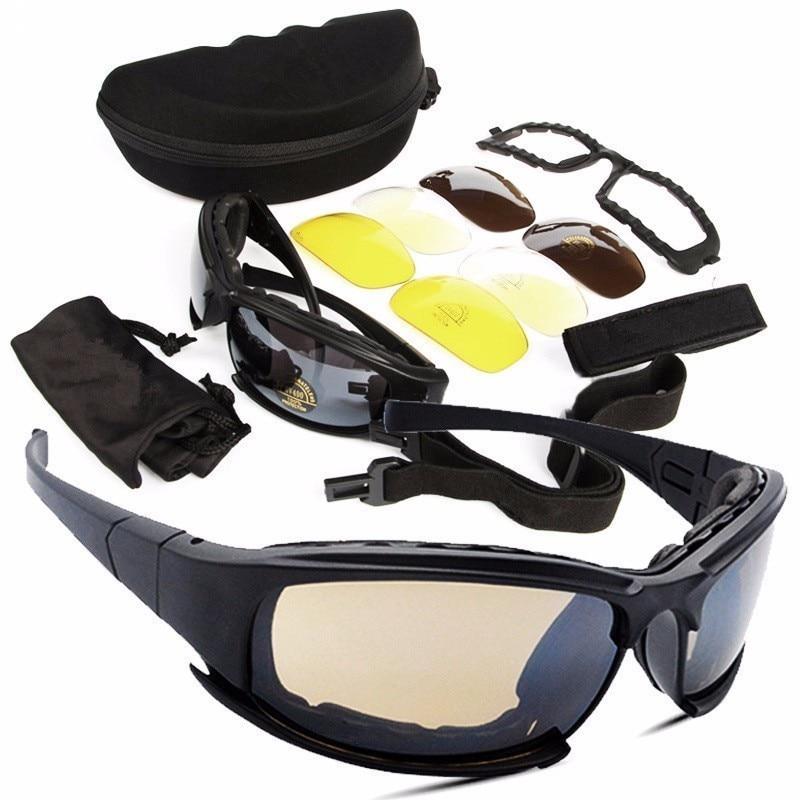 OHANEE  Military Goggles Bullet-proof Army Polarized Sunglasses 4 Lens Hunting Shooting Airsoft Cycl