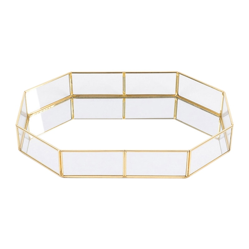 Cestas de almacenamiento de geometría de cobre de vidrio de estilo nórdico organizador de hogar de estilo sencillo para collar de joyería plato de postre