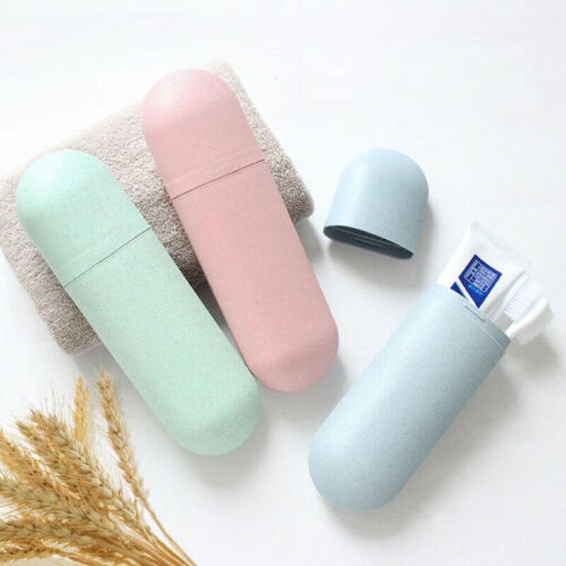 Caja de plástico con tapa protectora para guardar pasta de dientes, de viaje, portátil