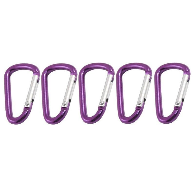 Mosquetón 5 uds. Mosquetón de aleación de aluminio en forma de D Ideal para sujetar botellas, bolsitas, bolsas pequeñas o algunos