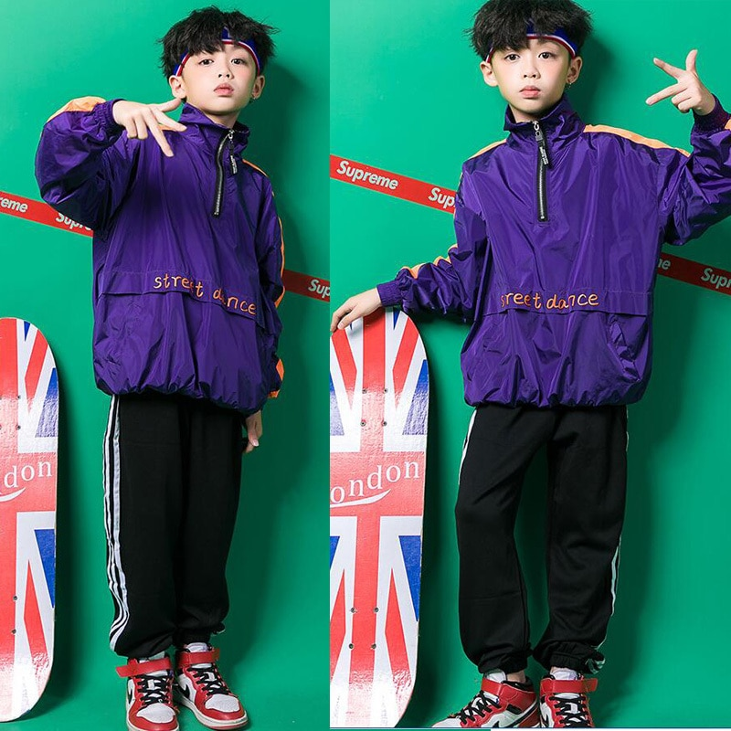 Girls Boy Loose Jacket Jazz Dancing Costumes Clothing Suits Kids Hip Hop Dance Wear Outfits Stage We