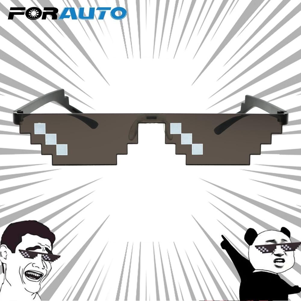 Forauto 3/6 bit mlg pixelated óculos de sol motocycle mosaico óculos de proteção uv do vintage motocross bicicleta corrida