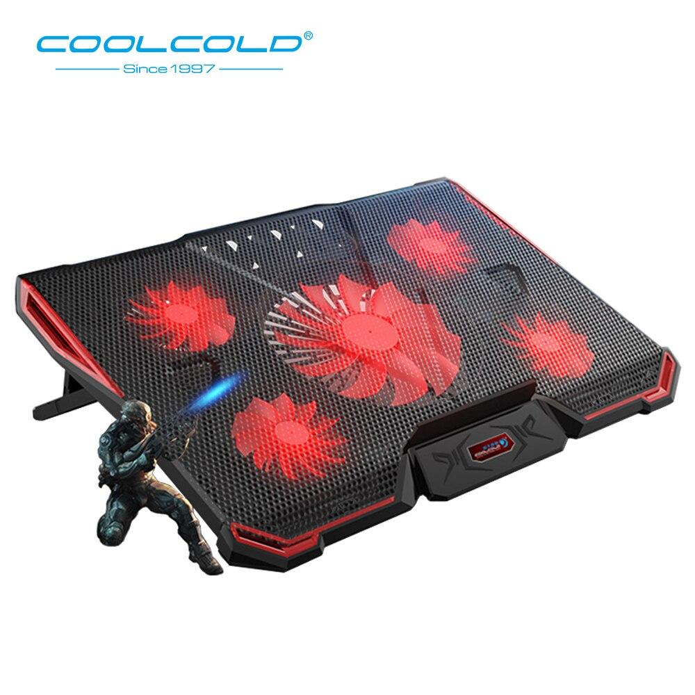 COOLCOLD portátil almohadilla de enfriamiento 2 USB 5 ventilador Gaming Led luz Notebook Cooler para 12-17 pulgadas Laptop Macbook