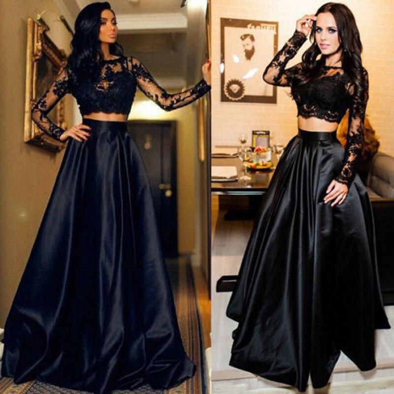 Nuevas mujeres de moda de encaje negro de fiesta noche vestido baile graduación de boda de cóctel Formal vestido largo S, M, L, XL