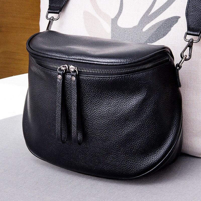 حقيبة يد نسائية موضة 100% جلد طبيعي الخصر حقيبة حقيبة يد كاجوال للسيدات الإناث Crossbody رسول محفظة حقيبة كتف رمادية
