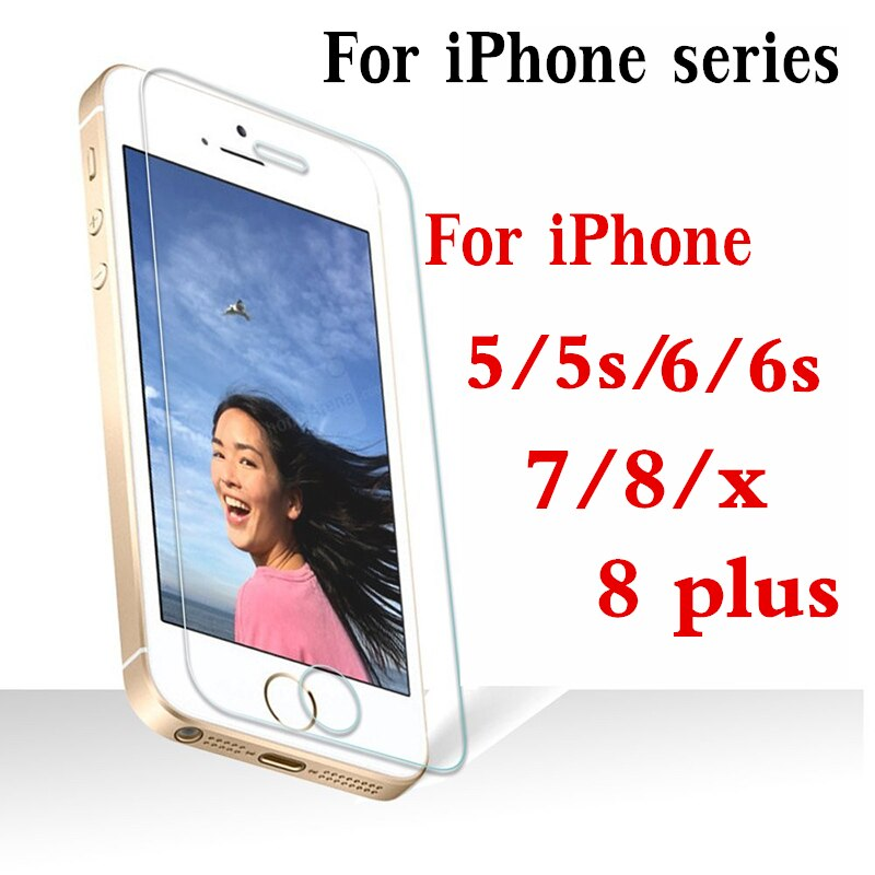 Para iphone 8 protector de pantalla de vidrio templado para iphone 7 glas ix 10 8 6 6 s plus 5 5S s s6 s5 x película protectora aphone