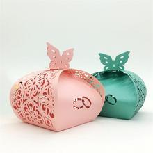 50 pièces/ensemble amour anneau évider boîte à bonbons papier pour fête de mariage fournisseur papillon bricolage artisanat bonbons faveurs boîte cadeau conteneur