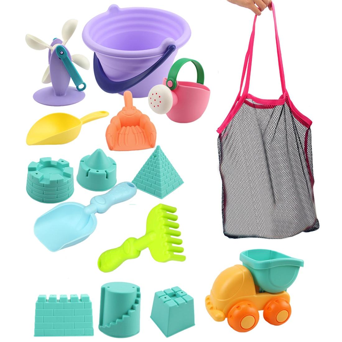 Hot 15Pcs/set Beach Sand Toys Soft Rubber Beach Bucket Playset Fun Toys Gift for Kids Summer Outdoor Fun Drop Ship -Random Color